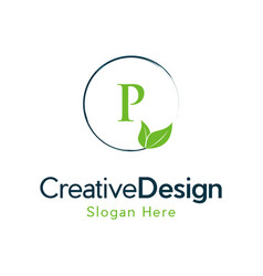 Letter p leaf naturally creative business logo vector