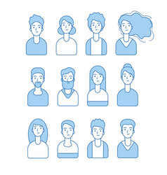 line avatars collection web internet profile vector image