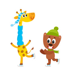 little giraffe and bear characters ice skating vector image