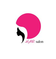 logo round design hair salon beauty woman face vector image