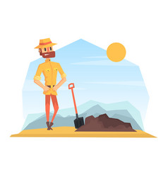 Man archeologist digging soil scientist character vector