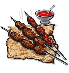 Meat kebabs and pita vector