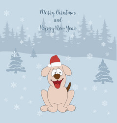 merry christmas and happy new year cartoon vector image vector image