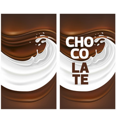 milk splash with dark chocolate vector image