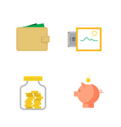 Money flat icon set for flat style vector
