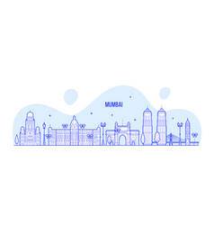 mumbai skyline maharashtra india city line vector image