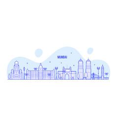 mumbai skyline maharashtra india city line vector image