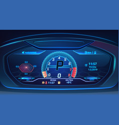 neon sport car supercar dashboard with speedometer vector image