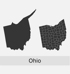 Ohio map counties outline vector