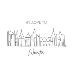 one continuous line drawing nantes city vector image