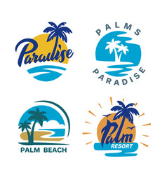 Palm trees round emblems vector