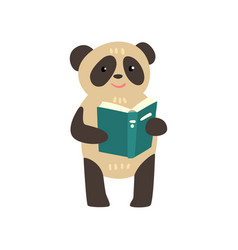 panda bear reading a book cute animal cartoon vector image