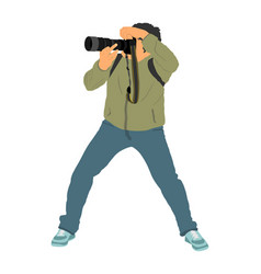 Paparazzi photographer shooting on event vector