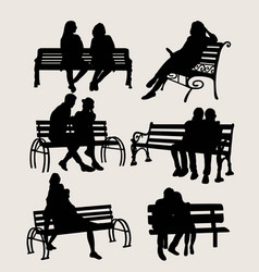 people sit in the garden silhouettes vector image