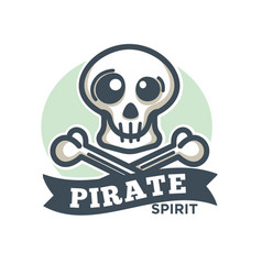 pirate icon skull and crossed bones vector image