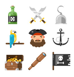 pirates icon set vector image