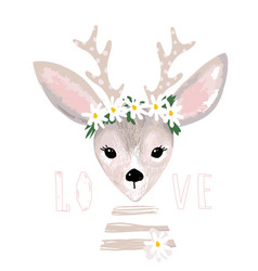Poster with a cute deer with a wreath daisies vector