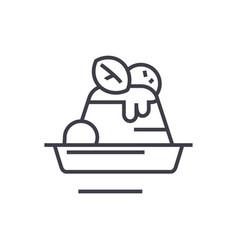 puddingdesertcake line icon sign vector image