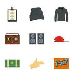 Rap icon set flat style vector