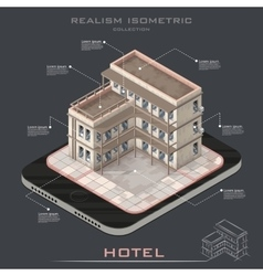 Realistic isometric hotel building icon vector