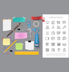 realistic stationery colorful concept vector image