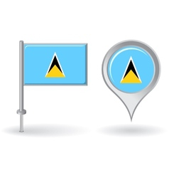 Saint Lucia pin icon and map pointer flag vector