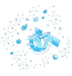 Satellite orbiting around earth spaceflight vector