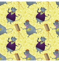 Seamless background rats artist and singer vector image