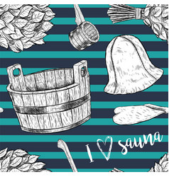 Seamless pattern items for sauna hand drawn vector