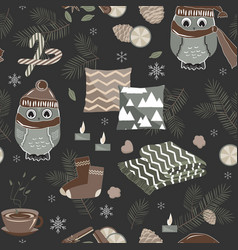 seamless pattern with cute sport owls and vector image