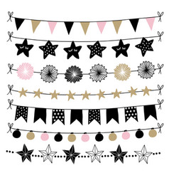 set birthday new year decorative borders vector image