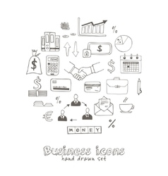 Set doodle sketch business icons vector