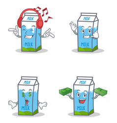 Set of milk box character with listening call me vector