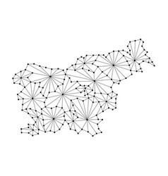 Slovenia map of polygonal mosaic lines network vector