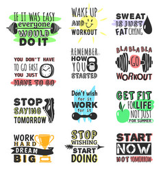 Sport gym fitness run motivational text quote vector