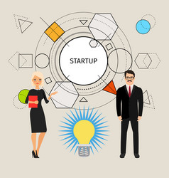 Startup concept with business people vector