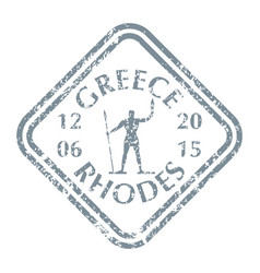 statue rhodes on greece island vector image