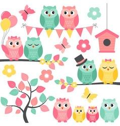 Summer Owls vector