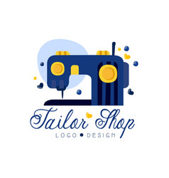tailor shop logo design emblem with sewing vector image
