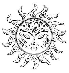 tattoo sleeping sun vector image