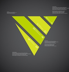 Triangle template consists of four green parts on vector