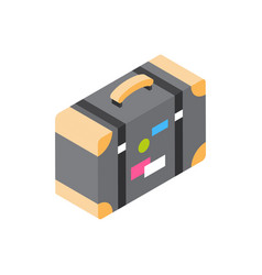 Vintage suitcase with stickers icon isometric vector