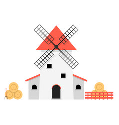 Windmill with haystacks vector