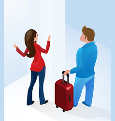woman receptionist welcome tourist with suitcase vector image