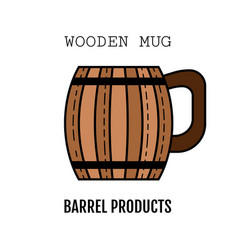 Wooden mug for beer drinks color flat icon vector