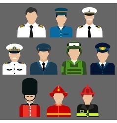Firefighter soldier pilot and captains avatars vector image