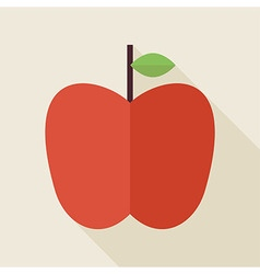 Flat Apple Fruit with long Shadow vector image
