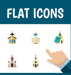 flat icon building set of traditional building vector image