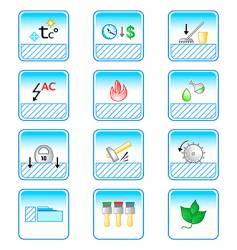 floor coverings properties icons vector image vector image