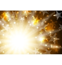 Glowing orange golden background with stars and vector image vector image